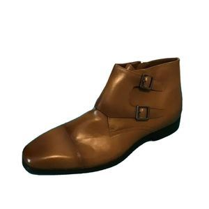 Express Mens Ankle Boots Brown Leather Side Zip 11